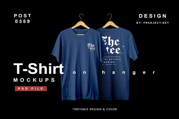 Free Download T-Shirt on Hanger PSD Mockup