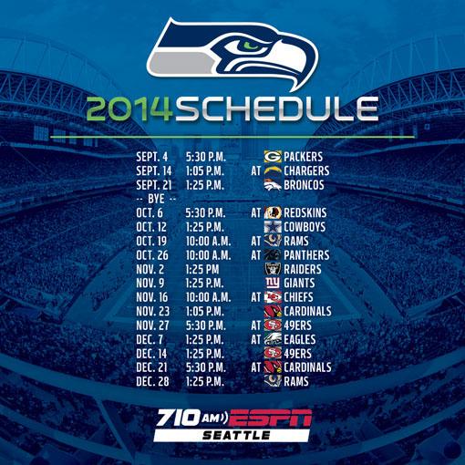 Seattle Seahawks Schedule: 710 ESPN 2014 Seattle Seahawks Schedule On Behance