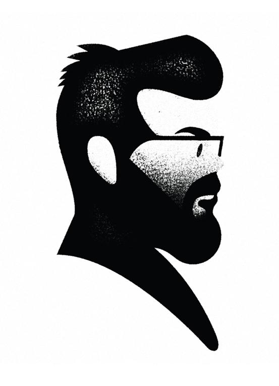 portrait black White flat profile