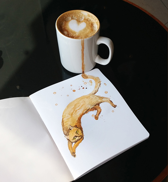 Coffee,Cat,drink,foto,watercolor,watercolour,Food ,animal,creative