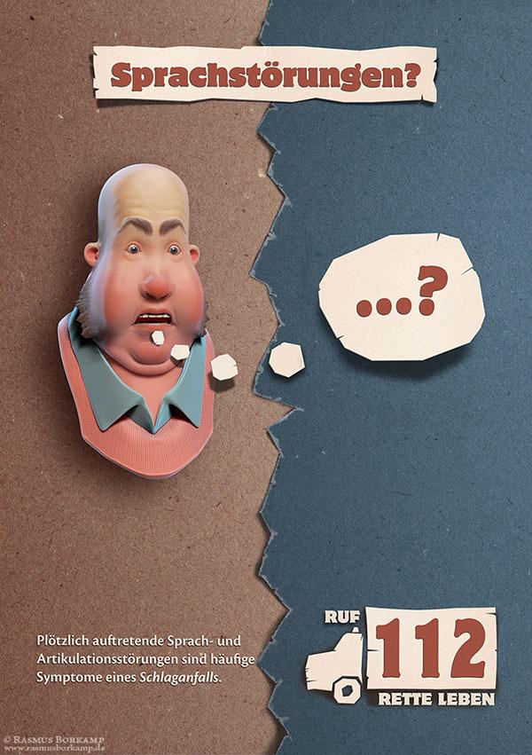 3D Stroke awareness Competition medical illustration dog fridge Eating  Obesity