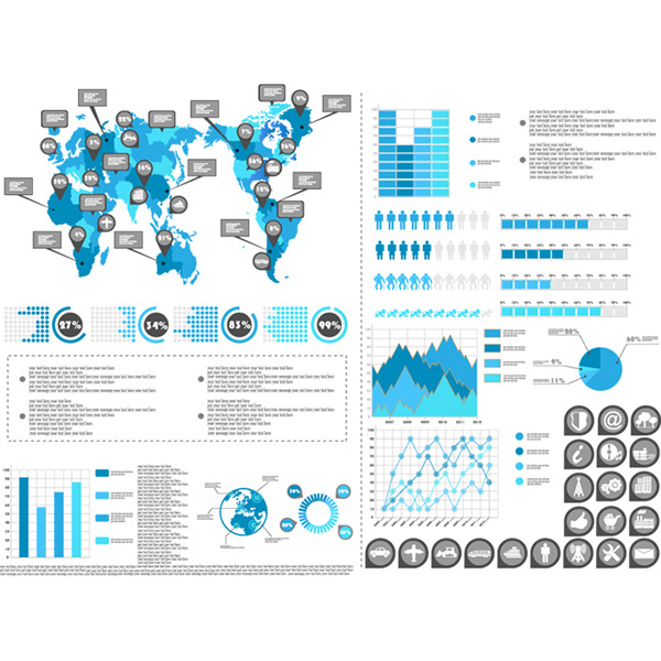 Free vector infographic world map and pie chart graphic on behance gumiabroncs Choice Image