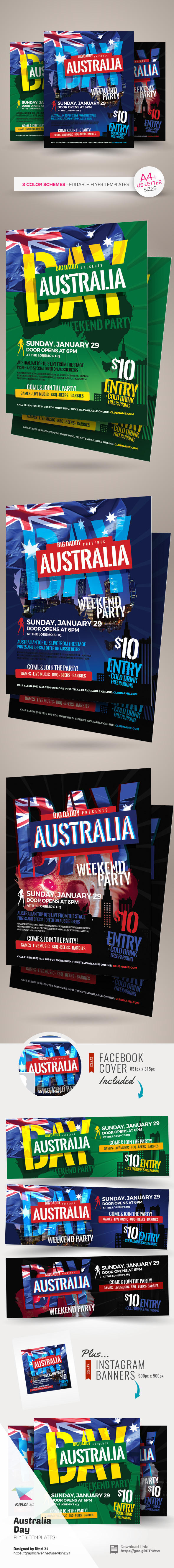 Australia Day Flyer Templates are fully-editable design templates ...