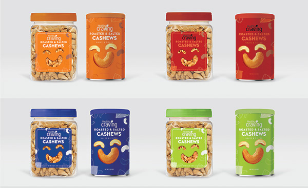 Roasted and salted cashew Packaging Design
