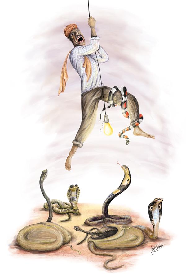 snake  charmer India photoshop scared digital wacom bulb swinging funny