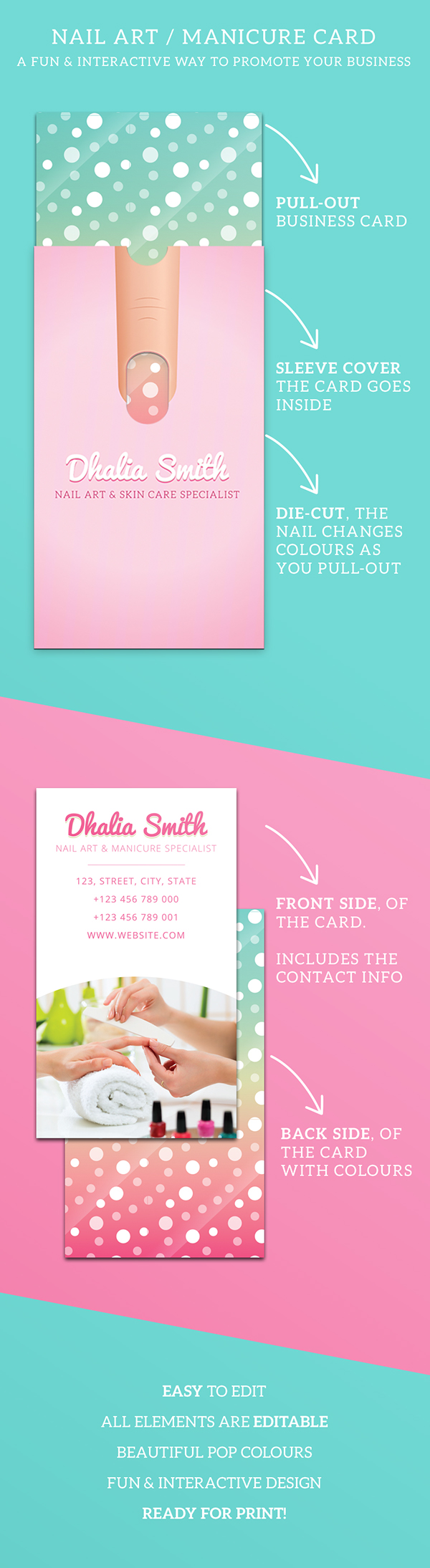 Nail Art/Manicure Business Card with Sleeve on Behance