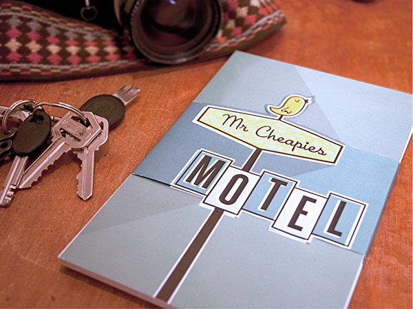motel hotel Mr. Cheapies design Retro mid-century modern matchbooks eames cards hangtags environmental design board game Travel road trip 1950's logo