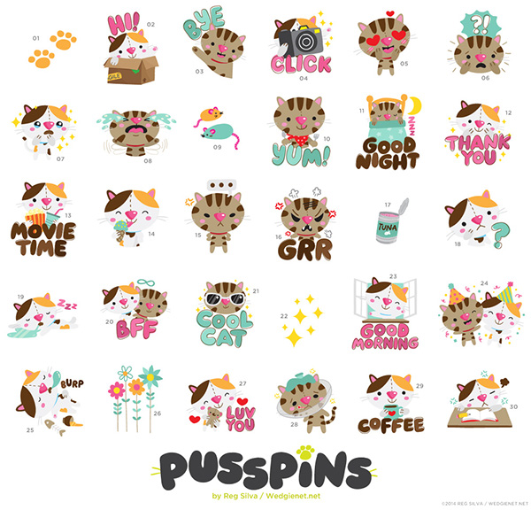 Character Design Jobs London : Pusspins stickers for instasize on behance
