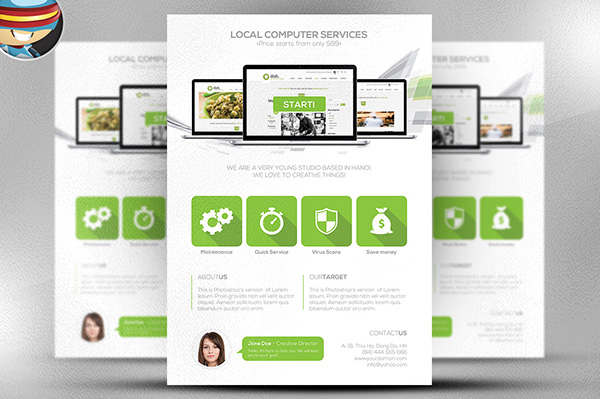 Computer Services Flyer Template Is A Fully Editable Photoshop PSD. Once  You Have Downloaded This Template, Using Adobe Photoshop CS4+ You Can Make  Use Of ...