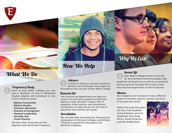 Epic Bible College Intro Brochure on Behance – College Brochure