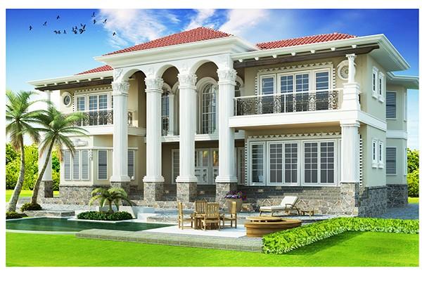 Villa House Front Elevation : Exterior d elevation render on behance