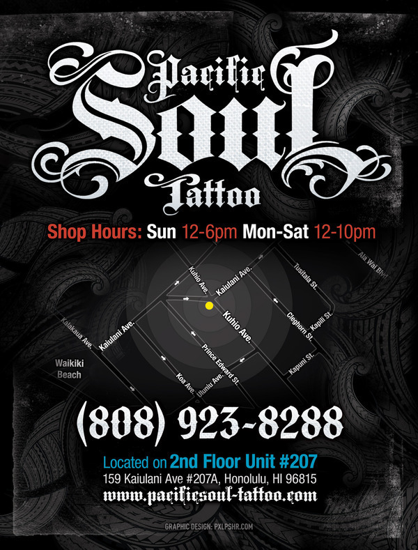 pacific soul tattoo flyer poster ad on behance. Black Bedroom Furniture Sets. Home Design Ideas