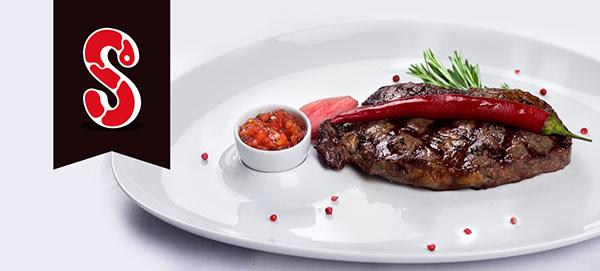 S Letter as Steak Logo