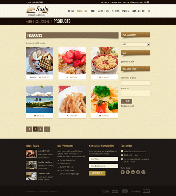 Sushi food restaurant shopify theme on pantone canvas for Page 3 salon coimbatore