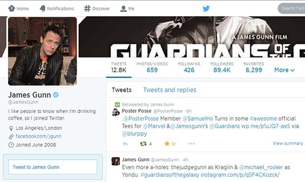 James Gunn Twitter: Guardians Of The Galaxy