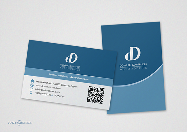 Dominic damianos logo business card on student show the colours used on the business card express safety trust and the line element on both sides of the card means luxury cars as the company provides reheart Image collections