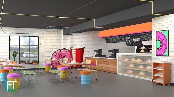 Dunkin Donut Interior Concept Industrial Pop Art Style On