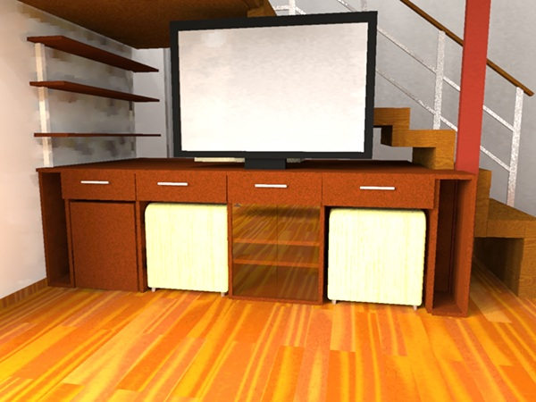Mueble multifunci n para tv bajo escalera on behance for Muebles bajos para tv