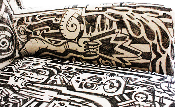 Couch textile illustration Painted characters Abstracts bachelor berlin