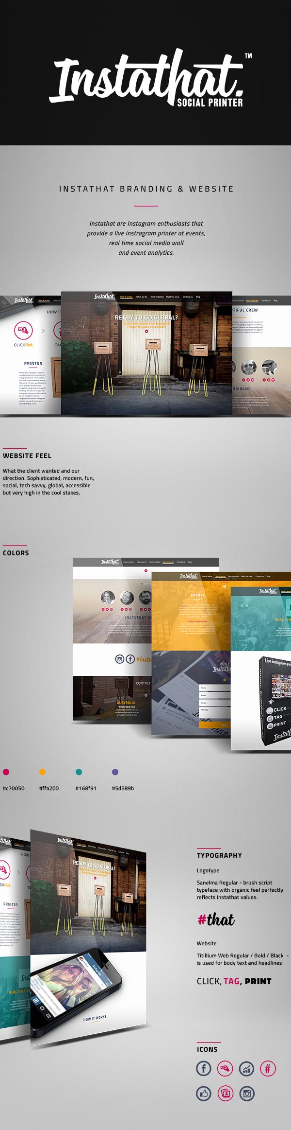 instagram instathat Website printer sophisticated modern Fun social cool colors logo Responsive mobile Hero