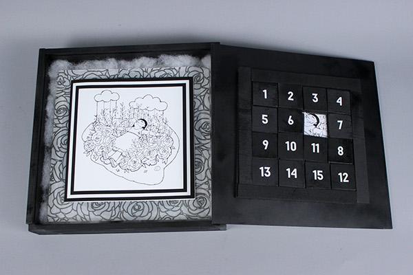 LP Album optical illusion insert sleeve numbers black White vinyl wood