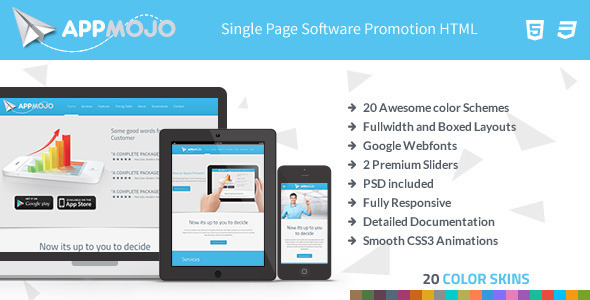 App Mojo - Single Page Software Promotion HTML on Pantone