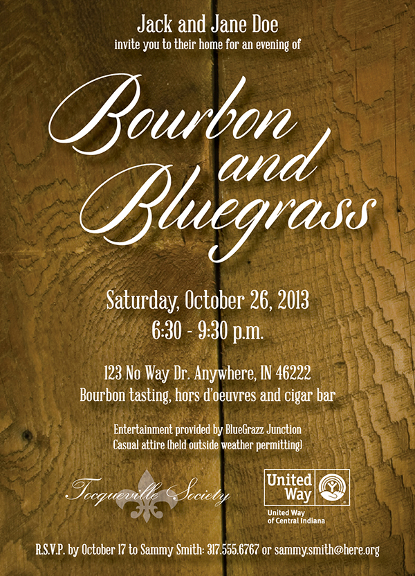 bourbon and bluegrass fall party invitation on the art