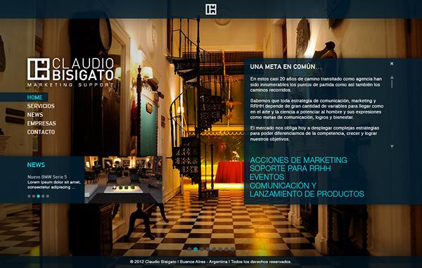 Diseño web para Claudio Bisigato. Trabajo realizado en lion Agency.