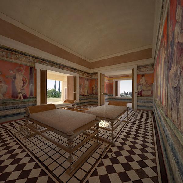Roman Villa Computer render Archaelogical reconstrution Pompeii