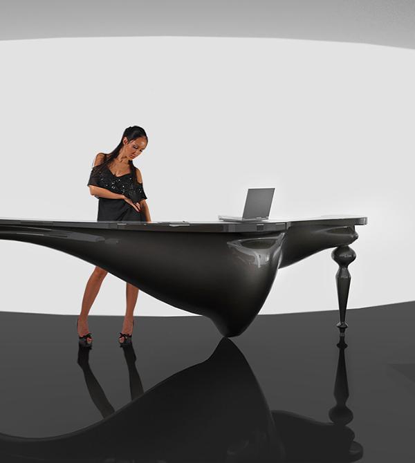 Reception desk secretary sex Work  legs job table desk reception sexy oil petroleum new neklesa black