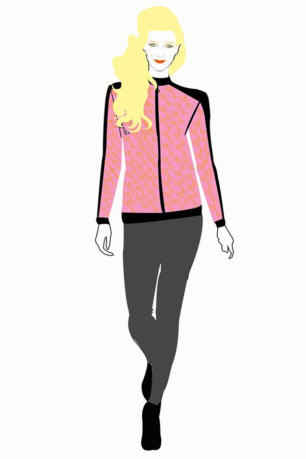 panther fashion design pink pattern jacket