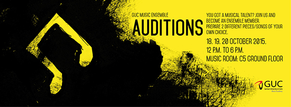 GUC Music Ensemble Auditions Poster On Student Show