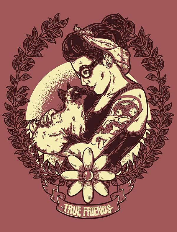 Cat girl tattoo tattoos Hardcore ponys  tee 2 Colours mar del plata Tandil fran vassallo