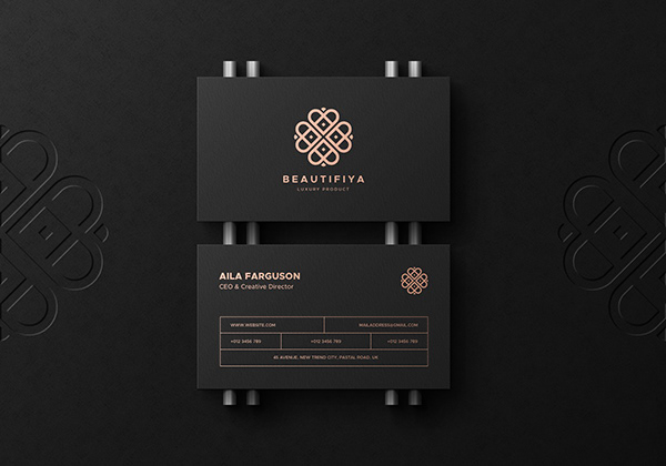 Black Business Card Mockup with a Letterpress Logo
