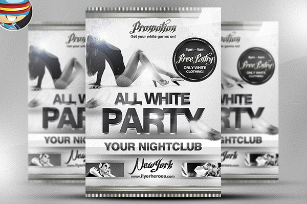 All White Party Psd Flyer Template On Behance