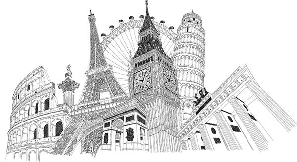 European landmark illustration