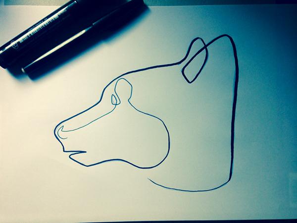 Single Line Character Art : One line bear wip on pantone canvas gallery