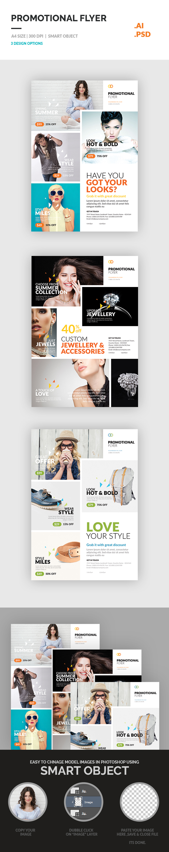 promotional flyer on behance set of promotional flyer template included 3 flyer design which can be use for any business like product promotion flyer jewellery fashion cloth