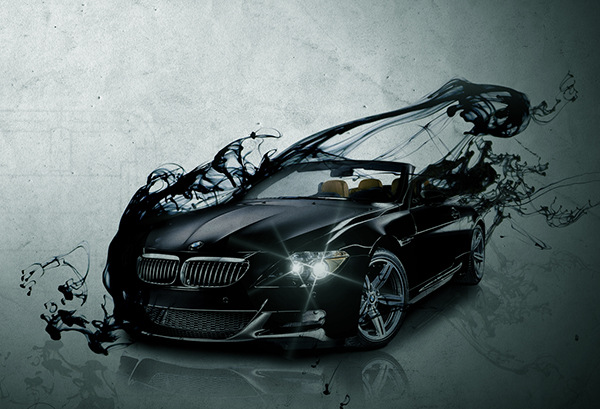 BMW car sleek modern luxury Liquid ink grunge abstract vignette m6