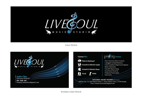 Live soul music studio logo business card design on behance for Music business card design