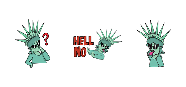 Character Design Internships Nyc : Sassy liberty line stickers on pratt portfolios