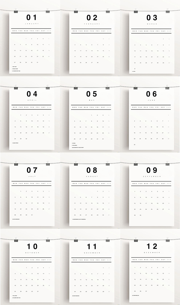 Minimalist Calendar Design : Minimalist calendar on behance