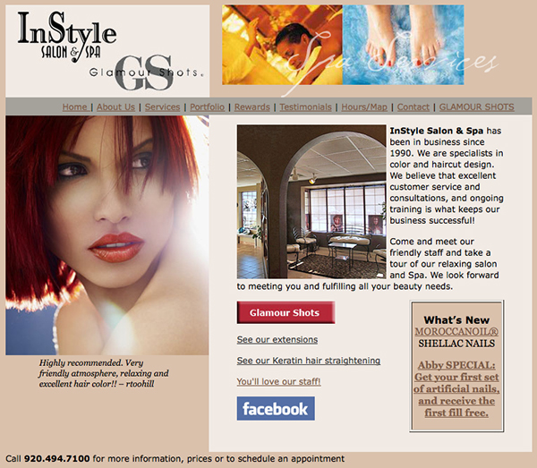 Instyle Salon and Spa & Glamour Shots website on Behance
