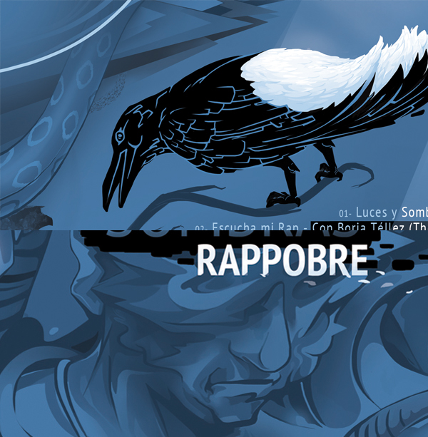 cover  cd design rap hip hop music print Isaacmahow   mahow art light shadow crow rappobre