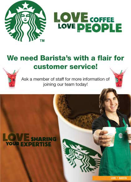 employment and starbucks You're hired meet individuals who will soon be wearing a green apron after starbucks extended job offers to many young people.