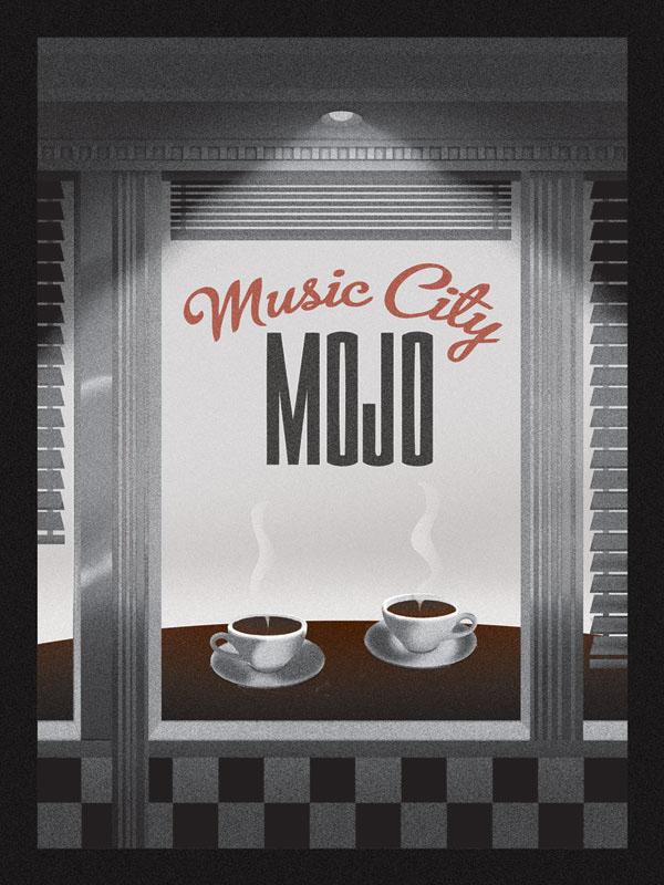 Nashville Tennessee Music City Mojo Music City Coffee cafe diner 1950s Anderson Design Group art nouveau air-brush coffee mugs black and white logo poster vintage Classic old