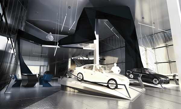 Interior design of an automobile complex on behance for Car showroom exterior design