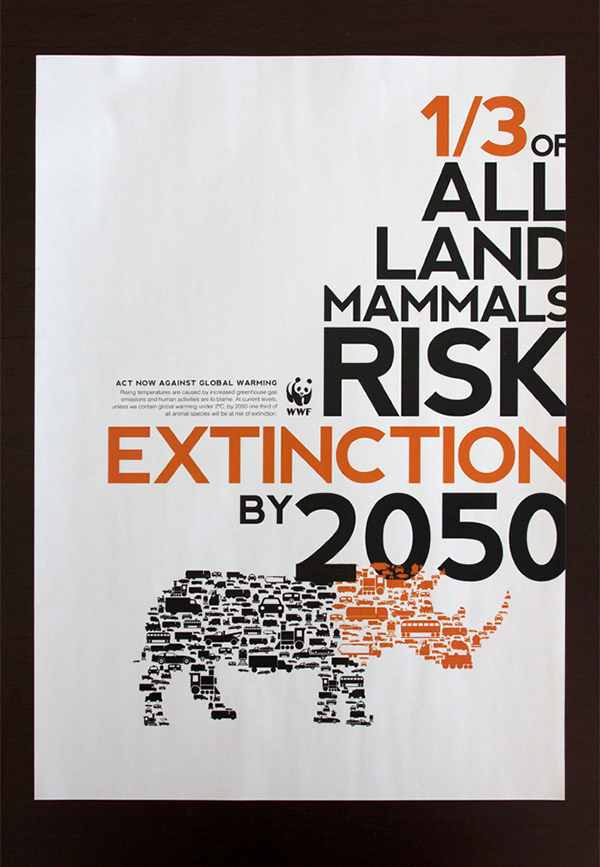 Booklet print graphic animals climate change WWF orange text large text clean vector publication poster fold out fold down brochure pamphlet typographic modern simple simplistic minimal