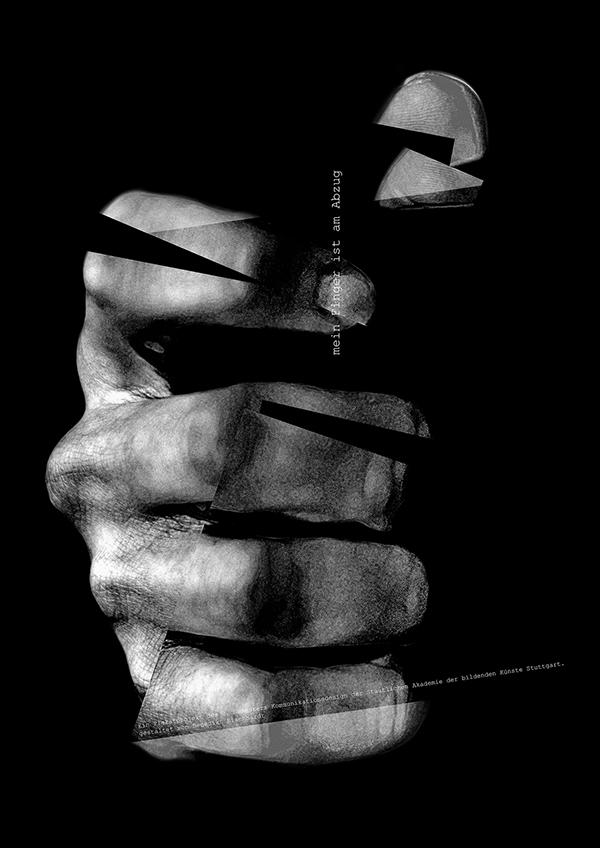 poster affiche plakat black and white hand trigger abzug missinterpretation