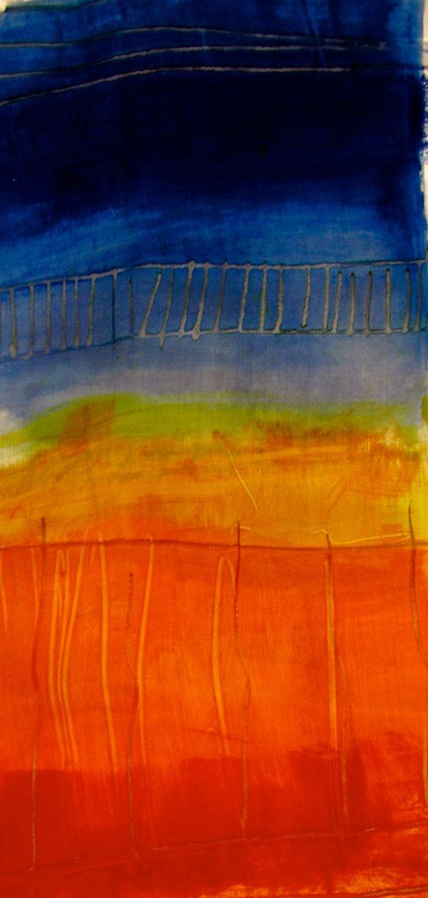 Landscape  Screenprinting handpainting brightcolours composition pigment Acid Dye Reactive dye flock screens studio Pre-collection Textiles fabric Joanna Srokol design